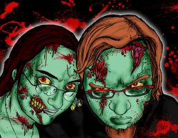 Zombie Portraits - Ron and ? by shane-mills
