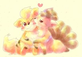 Growlithe Vulpix by Jeevet