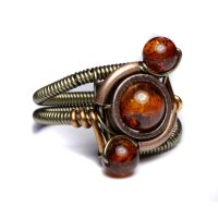 Steampunk Amber orbit  ring 1 by CatherinetteRings