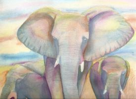 Elephants of Color by ElfPrincessFlannery