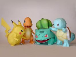 Starter Pokemon Papercraft by Skele-kitty