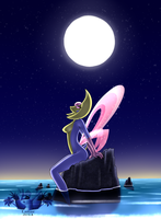 Cresselia Anthro- Under the Moonlight by Sol-Uxie