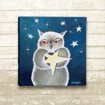 Make a Wish - Owl Painting Original Painting by hjmart