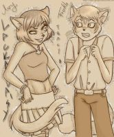 Lackadaisy: Ivy  and Freckle by nittle-grasper