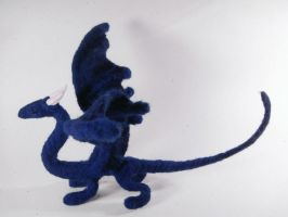 Needle felted blue dragon by Projectsubvert
