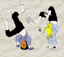 Tobi and Deidara - Handstand by Midnight-Calling