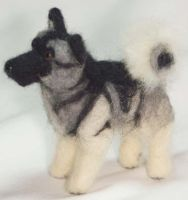 Needle Felted Elkhound by The-GoblinQueen