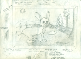 Bunny, field, mountains, and trees by ericremotesteam