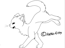 Cat Jumping lineart by neko-fishy