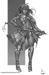 Female Warrior Fate BW by chacuri