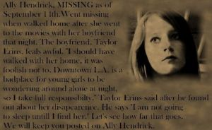 Ally Hendrick -missing- by Outsider767