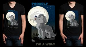 Wolf howling T-shirt design by pandapaco