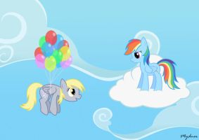 Look Rainbow Dash, I can Fly! by Mynder