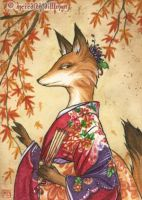 Maple Kitsune aceo by MeredithDillman