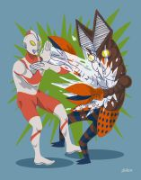 Ultraman VS Alien Baltan by ald3n