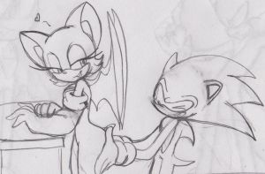 Sonic Feeling Rouge's Booty Sketch By: Amy-360 by Sonicdude645