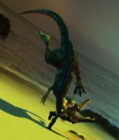 Vizor Tames a Spinosaurus 2 by Realms-And-Void
