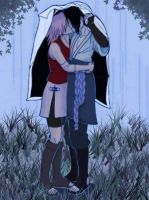 Sasuke Sakura - Rainy Kiss by SupremeDarkQueen