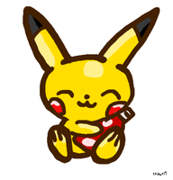 Pikachu with ketchup (for jadenyuki101) by 1Pikapi1