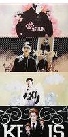 EXO Graphics. Sehun, Xiumin, Chanyeol, Kris by kamjong-kai