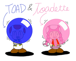 Toad and Toadette with Big Babol Style by PokeGirlRULES