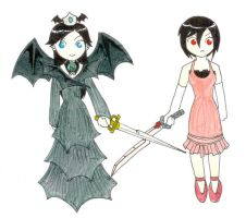 Blood+ Chibis: Saya and Diva by rhymeswithmonth