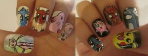Pokemon nails  :D by henzy89