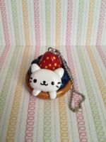Kawaii Nyan Nyan Nyanko berry Tart Polymer Clay by mia831
