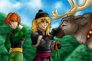 Genderbending Anna and Kristoff by fishyhylian