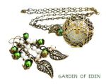 GARDEN OF EDEN -  Bronze Locket and Earrings Set by crystaland