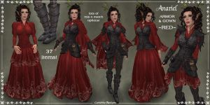 Anariel Armor + Gown Set -RED- by Elvina-Ewing