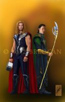 Thor and Loki by Breogan