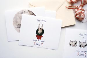 Rabbit and Cat Cards - DA Holiday Card Project by beyourpet