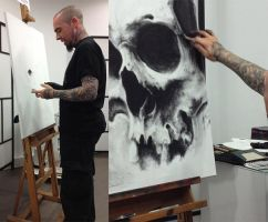 painting with charcoal on canvas by Labo-O-Kult