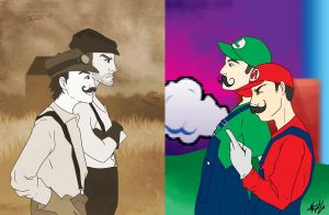 Wright Bros vs. Mario Bros by DrawlingNell