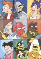 Futurama Sketch Cards 1 by tedwoodsart