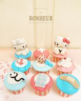 Hello Kitty and Dear Daniel Cupcakes by StrawberryStory