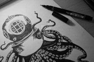 Octopus with divers helmet by Tarin-Moore