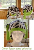 floppy eared Green and Zebra print hat by wolffang56
