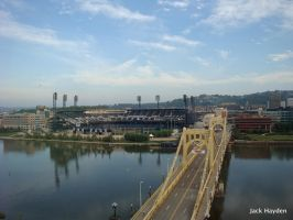 Pittsburgh Stadium Sky and River by JackHayden