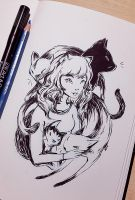 Inktober2015 Guardian Cats by kitakiskis