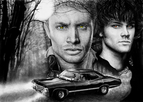 Supernatural Sam and Dean by Yankeestyle94