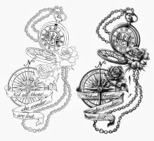 The Pocket Watch and The Compass by CrisLuspoTattoos