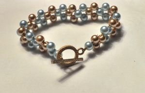 Gold and Blue Pearl Bracelet by Murphface