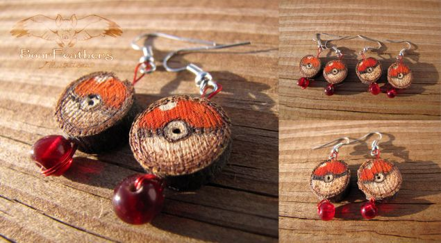 Wood burned Pokeball Earrings by Boarfeathers