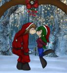 Valendrian and Ivy kiss under the mistletoe gif by demongal109