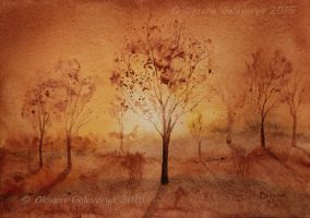 Rusty Sunset -  watercolor by Oksana007