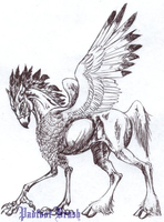 Penned Hippogriff by PadfootBrush