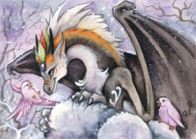 ACEO Aurora Silver and the Snowparrots by kiriOkami