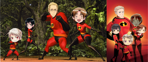 Hetalia:  Axis Powers as the Incredibles by 2ne1kpoprockergirl